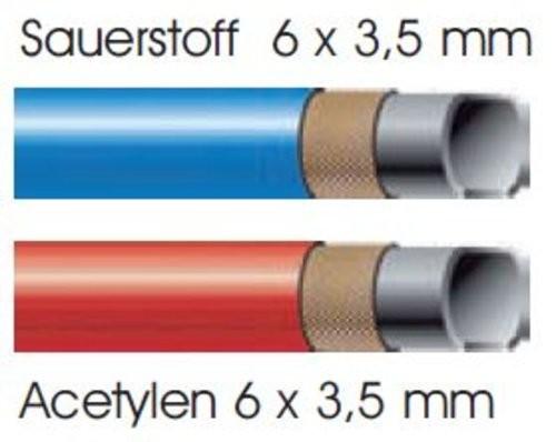 Montierter Autogenschlauch Sauerstoff 6x3,5mm / Acetylen 6x3,5mm