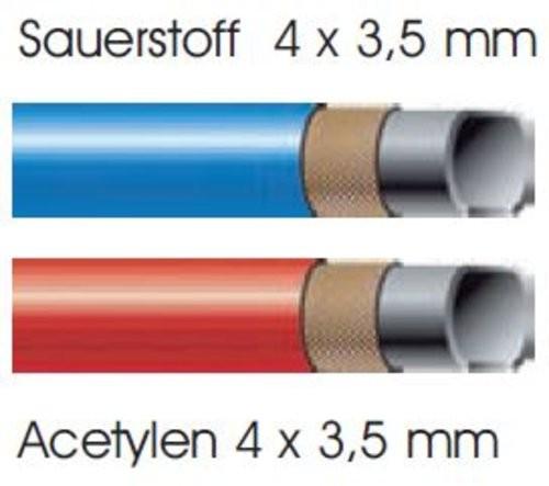 Montierter Autogenschlauch Sauerstoff 4x3,5mm / Acetylen 4x3,5mm