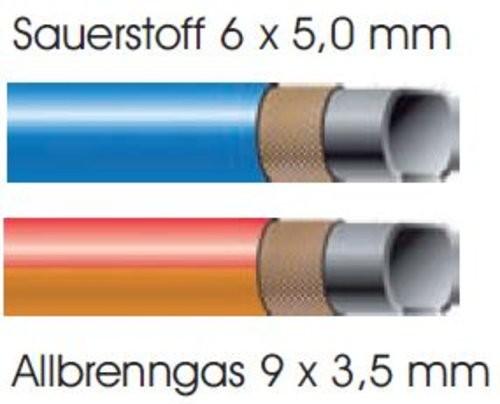 Montierter Autogenschlauch Sauerstoff 6x5mm / Allbrenngas 9x3,5mm